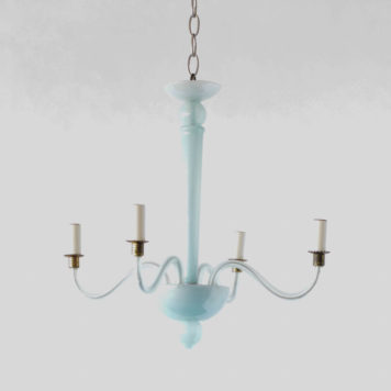 Small Italian chandelier made of blue glass in the mid 1900s