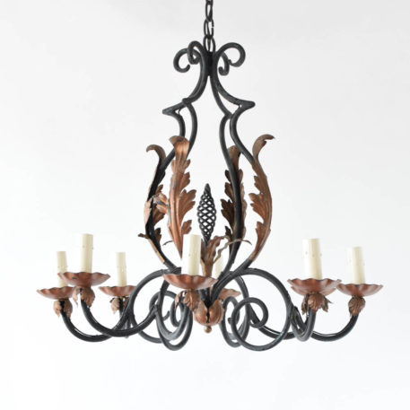 Antique French Chandelier with Curved arms and Large Leaves