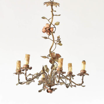 Vintage Rose chandelier from Spain with corkscrew column