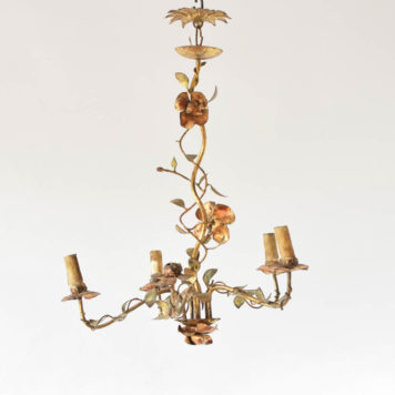 Vintage iron chandelier from Spain with roses and vines