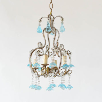 Vintage Italian chandelier with gilded iron frame and beaded details Blue crystal flowers suspended from frame