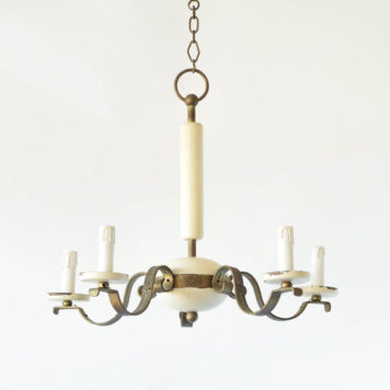 Wood and Iron Chandelier from the early 1900s having a simple deco form in wood