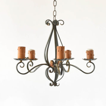 Vintage French Country Chandelier with Green Patina