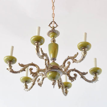 Vintage bronze chandelier from Belgium with green onyz components