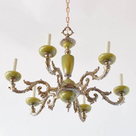 Vintage bronze chandelier from Belgium with green onyz components