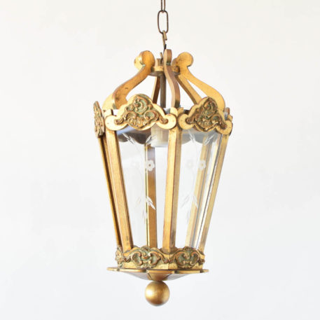 Vintage Gilded Wood Lantern with Etched glass panels from Italy