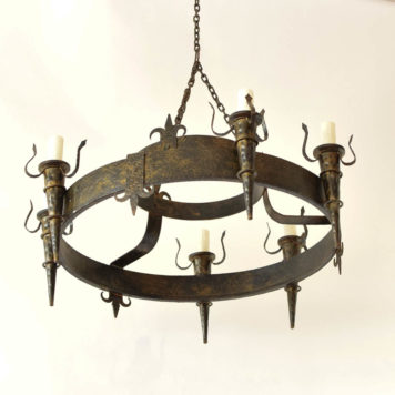 Vintage Iron Chandelier from Belgium with Textured metal and fleur de lis motif