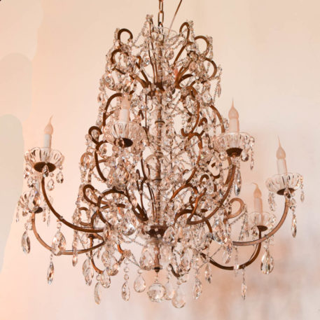 Vintage Italian chandelier made of a Maria Theresa style frame with macaroni bead chains