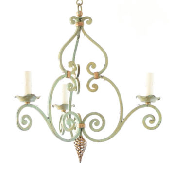 Pair of simple French country chandeliers with original green patina
