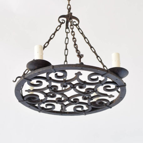 Nicely forged iron chandelier from France with flat iron base and 4 chains