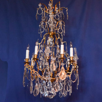Vintage Bronze chandelier from France with large French pendelouge crystals