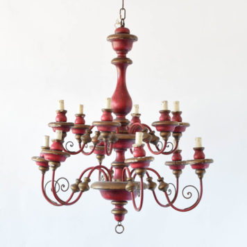 Large Italian Chandelier with Red Patina