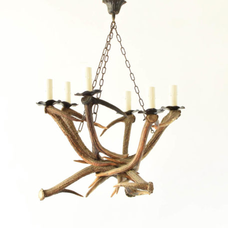 Rustic vintage red stag horn chandelier from Belgium