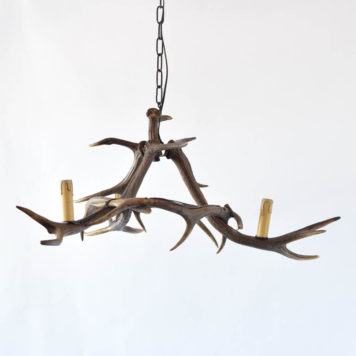 Vintage horn chandelier made from European red stag horns