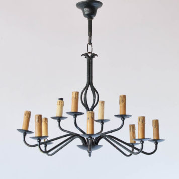 Vintage Iron Chandelier from Belgium with Simple arms on 2 levels