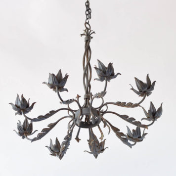Large vintage Spanish chandelier with twisted central column and leaves on arms and bobesches