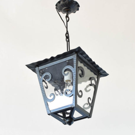 Belgian Lantern with German New Antique Glass