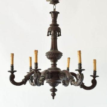 Carved wood chandelier made in the early 1900s in Belgium