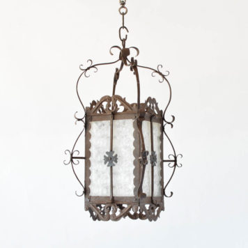 Square Iron Lantern with Original Glass
