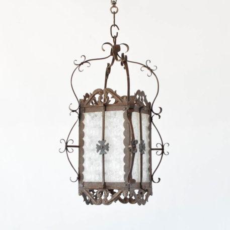 Square Iron Lantern with Original Glass