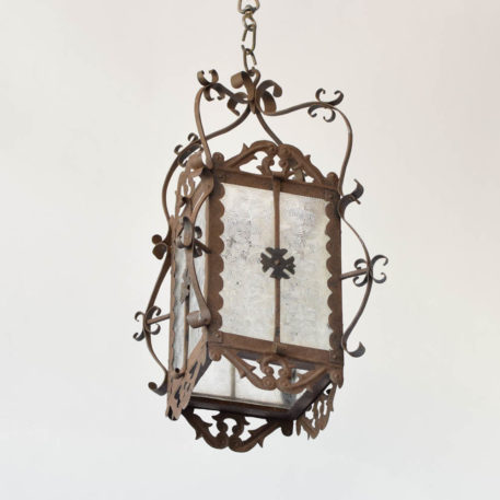 Iron Lantern with Textured Glass from Spain