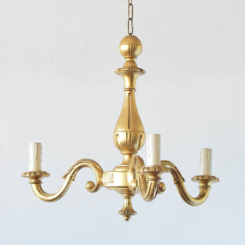 Small Vintage Gilded Wood Chandelier