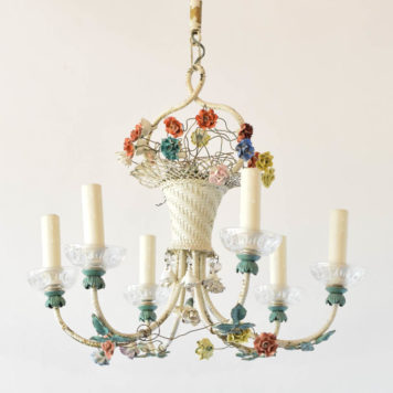 Vintage toile chandelier from italy with porcelain flowers and basket form in middle