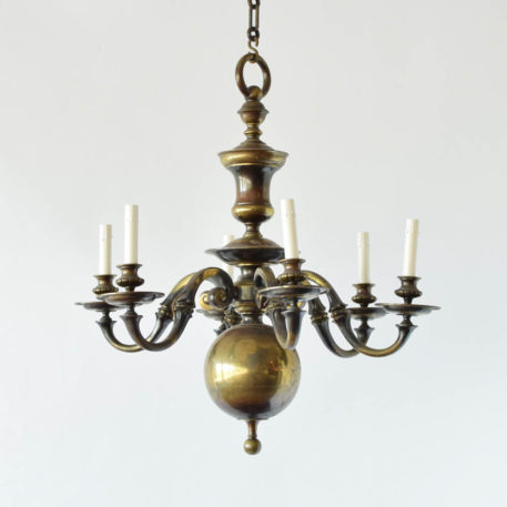 Antique heavy Flemish Bronze chandelier from Belgium with large central ball on the bottom