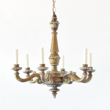 Wood Chandelier from Italy with Original Patina