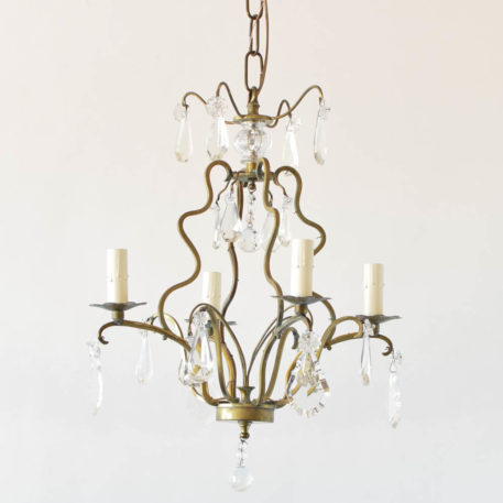 Antique French chandelier with cage form bronze and crystal pendants