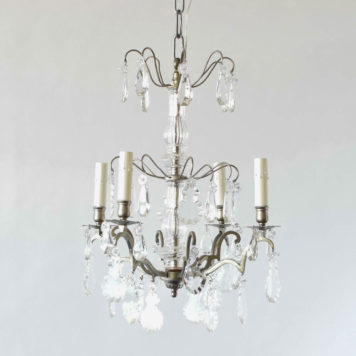 Antique nickel chandelier from France