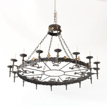 Vintage Spanish Chandelier with large iron band decorated with fleur de lis and gilded rosettes
