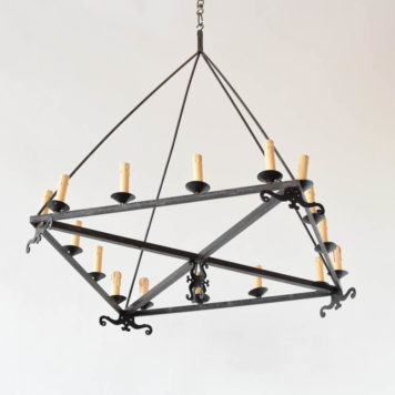 Vintage square iron chandelier from a Belgian Brewery