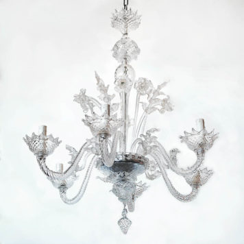 Vintage Italian Murano Chandelier with unusual leaves and flowers