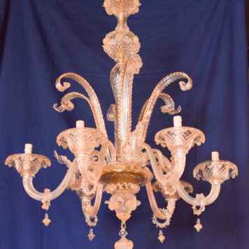 Large vintage italian chandelier with spiky murano glass leaves