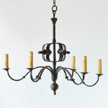 Antiqur hand forged iron chandelier with hammered central orb