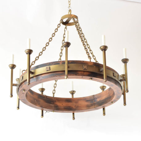Large Wood Ring Chandelier with metal band and metal arms from Spain