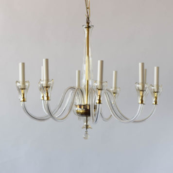 Vintage Czech glass chandelier with gold accents