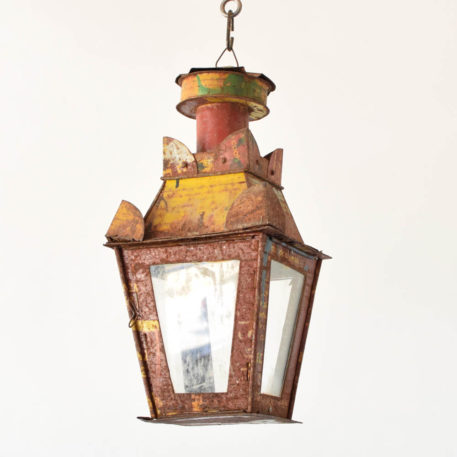 Metal lantern crafted from old oil drum in an Italian design