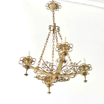 Vintage Spanish chandelier with filigree scrolls