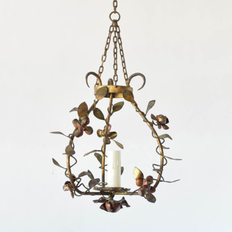 Vintage Iron Hall Lamp with Rose Flowers and Rose Vines from Spain