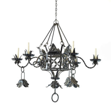 Vintage Spanish chandelier with 6+3 lights and scrolled central body