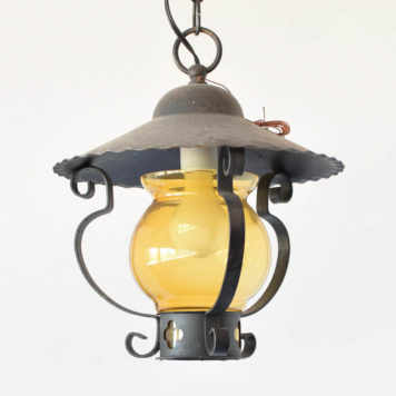 Vintage Iron Farm House style lantern with amber glass shade from Belgium