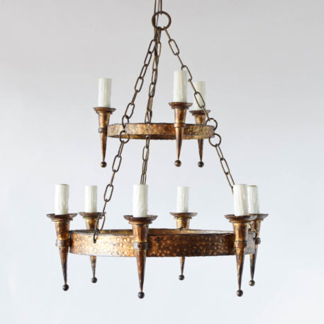 Vintage iron chandelier from Spain with gold patina
