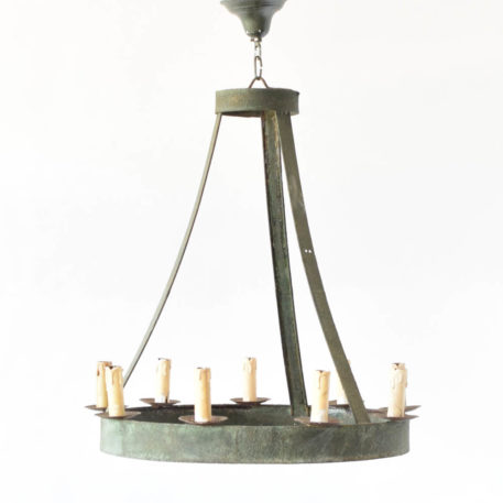 Vintage Iron Ring Chandelier from France with Tall Metal straps and 9 lights
