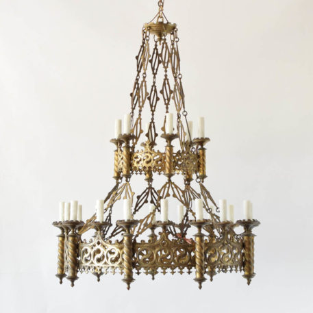 Two Tiered Antique Neo Gothic Chandelier originally made for holding chandles. Likely used in a church