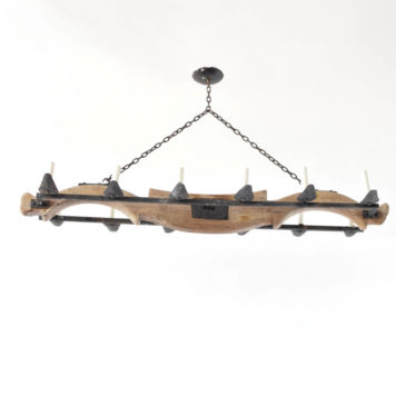 Vintage Belgian chandelier made from an antique wood yoke with iron rails and candle holders