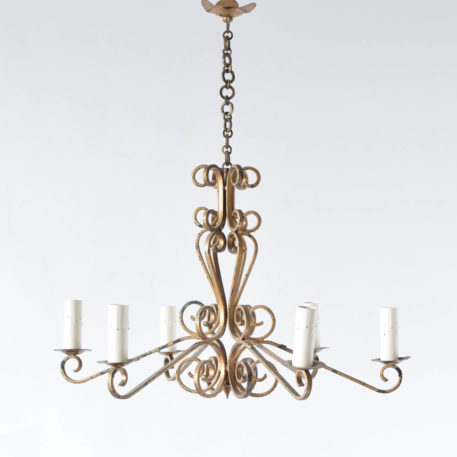 Vintge iron chandelier from France with scrolled arms