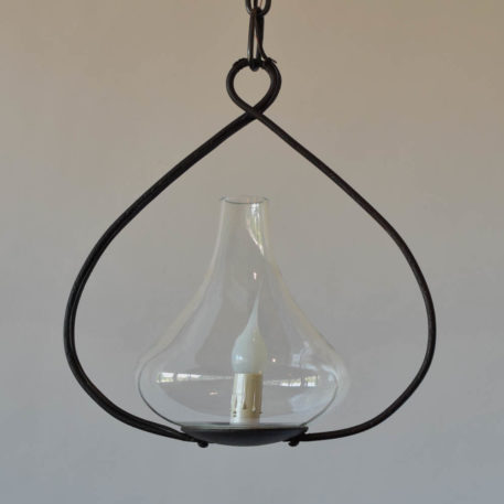 Vintage Italian Glass Pendany on custom made iron frame