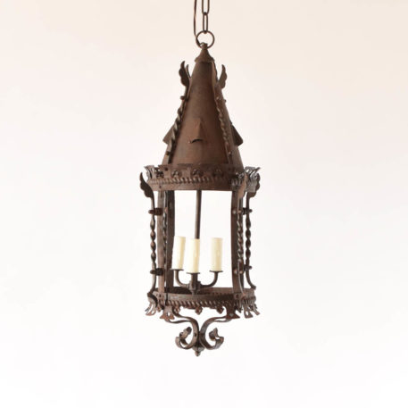 3 light rustic iron chandelier